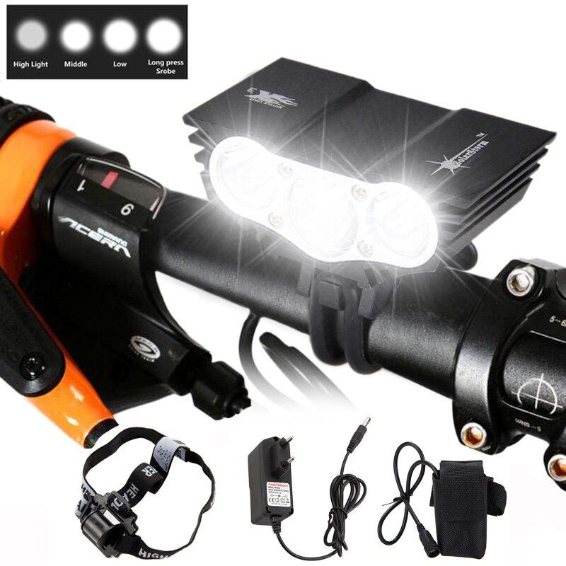 3xXM-L T6 LED إضاءة دراجة هوائية أضواء الدراجة العلوي كشافات + 12000mAh بطارية حزمة عقال مع شاحن