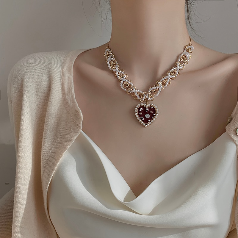 Love Drip Glazed Pearl Pendant Necklace 2021 New Women's Exaggerated Temperamental Personalized Clav