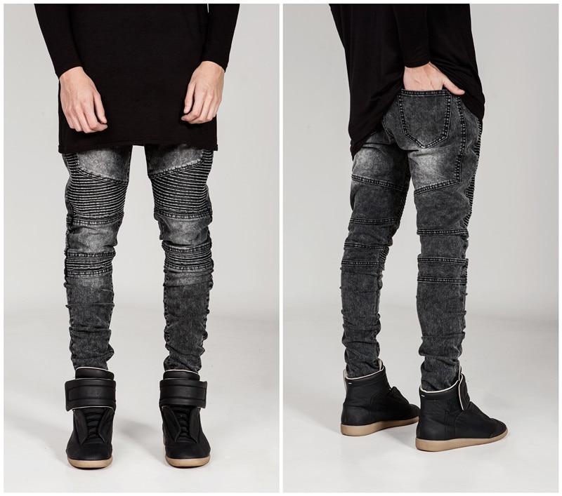 Уличная одежда, мужские рваные байкерские джинсы, мужская мода, мотоциклетные облегающие черные, белые, синие мотоциклетные джинсовые брюк...