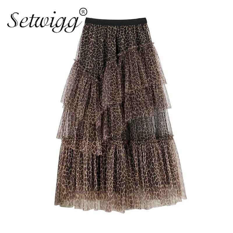 Saias longas de gaze cakee em camadas femininas alta baixa em camadas de tule no tornozelo saias longas irregular super moda leopardo malha maxi longo