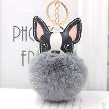 منفوش الأرنب الفراء الكرة الفرنسية البلدغ المفاتيح الجلود لينة بوم أفخم دمية محشوة الحيوان الكلب كيرينغ حامل حقيبة حلية
