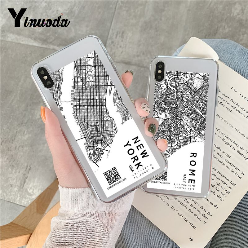 Ins эксклюзивный чехол для телефона с картой города для iPhone 11Pro Max 6 7 8 Plus X XR XS Max Sketch Letter прозрачный мягкий силиконовый чехол