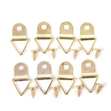 100pcs/Set Universal Strong Golden D Rings Decor Picture Frames Hanger Hooks Hanging Triangle With 100pcs Screws  Helper