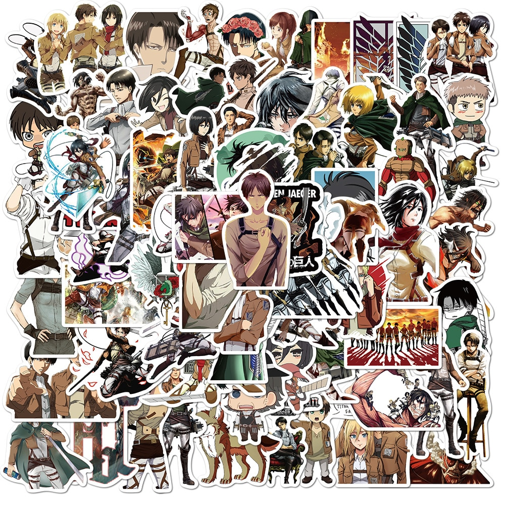 10/30/50Pcs/Pack Attack On Titan Anime Stickers Laptop Guitar Motorcycle Luggage Skateboard Bicycle Waterproof Sticker Kids Toys