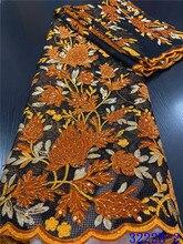 Tissu africain en dentelle velours Orange brodé avec paillettes, Tulle français, pour fête de mariage nigérian, APW3222B