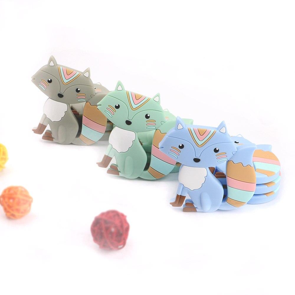 Kovict 5/10 stücke Silikon Baby Beißring Fuchs Nagetier Zahnen Spielzeug Kautable Tier Form Pflege Geschenk
