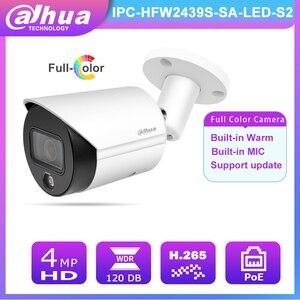 Free Shipping Dahua Surveillance Camera POE 4MP HD IPC-HFW2439S-SA-LED-S2 Built-in Mic& Warm Lights IP67 Full Color Night Vision