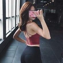 Alta calidad Sujetador deportivo sin mangas Yoga camisa mujer espalda cruzada Crop Yoga Top correr camisa mujer gimnasio entrenamiento Fitness T camisa