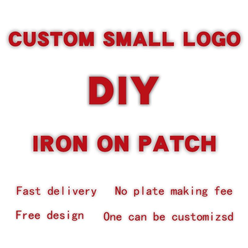 Personalizado pequeno logotipo emblema padrão aplique em roupas calor-sensível remendos calor vinil ferro adesivos decoração carta adesivos