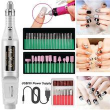 Polisseuse à ongles électrique USB alimenté ensemble de polisseuse à ongles Type de stylo manucure faux ongles polissage foret ensemble de polissage Usb alimenté