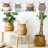 1pc gardening decoration foldable rattan wickerwork basket storage organizer basket plant flower pots