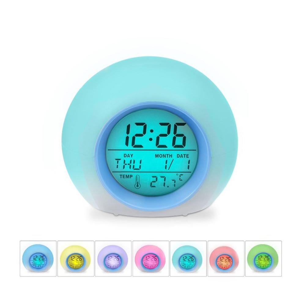 Reloj despertador de sonido Natural luz cambiante 7 colores esféricos creativos
