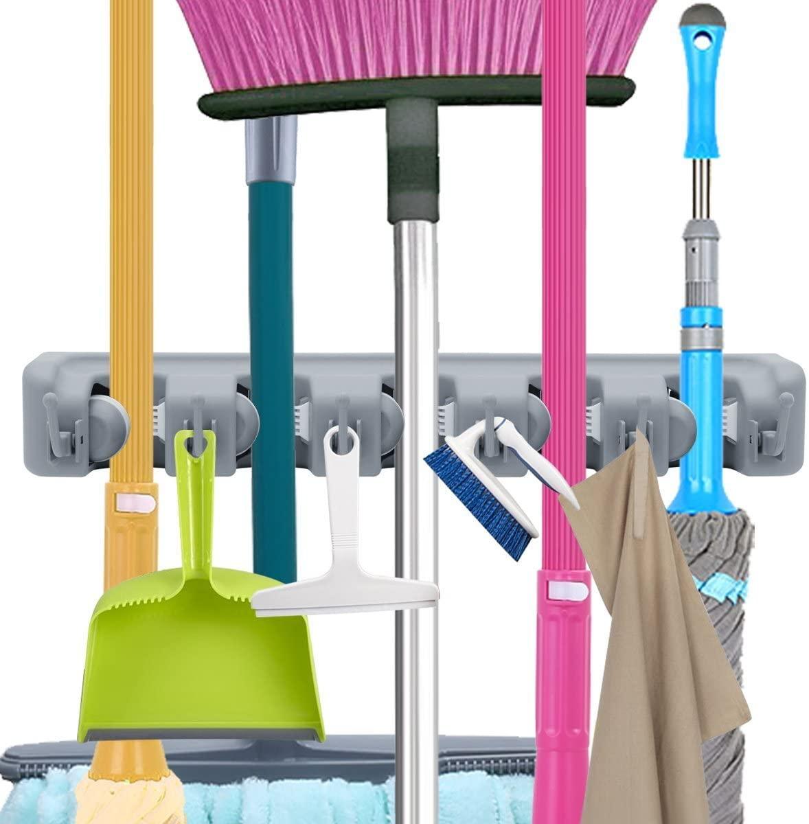 Wall Mounted Multi-Functional Broom Holder Tool Magic Plastic Mop Holder Bathroom Kitchen Storage 3 Styles