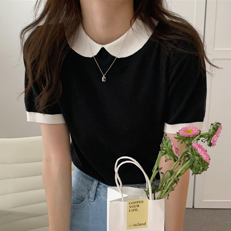 Korean  Cardigan Summer Color Matching Doll Collar Back Single Tops Sweater Breasted Design Slim Str