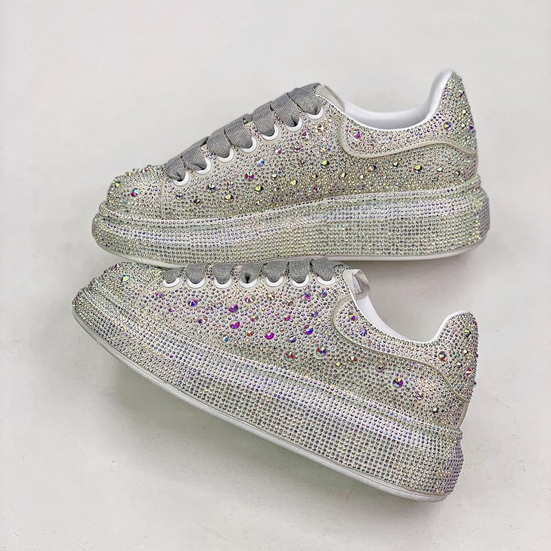 Fashion Genuine Leather Platform shoes Women Casual sSports shoes Flat Sneakers McQueen Diamond Gyps