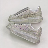 Fashion Genuine Leather Platform shoes Women Casual sSports shoes Flat Sneakers McQueen Diamond Gypsophila