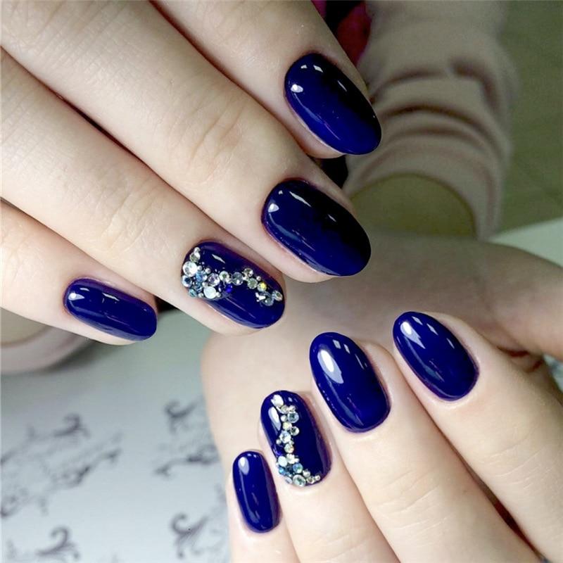 24 unids/set Diamante de imitación azul diseño de estilo de moda falso prensa en las uñas puntas cortas de uñas redondas parche herramienta de arte novia manicura acabado