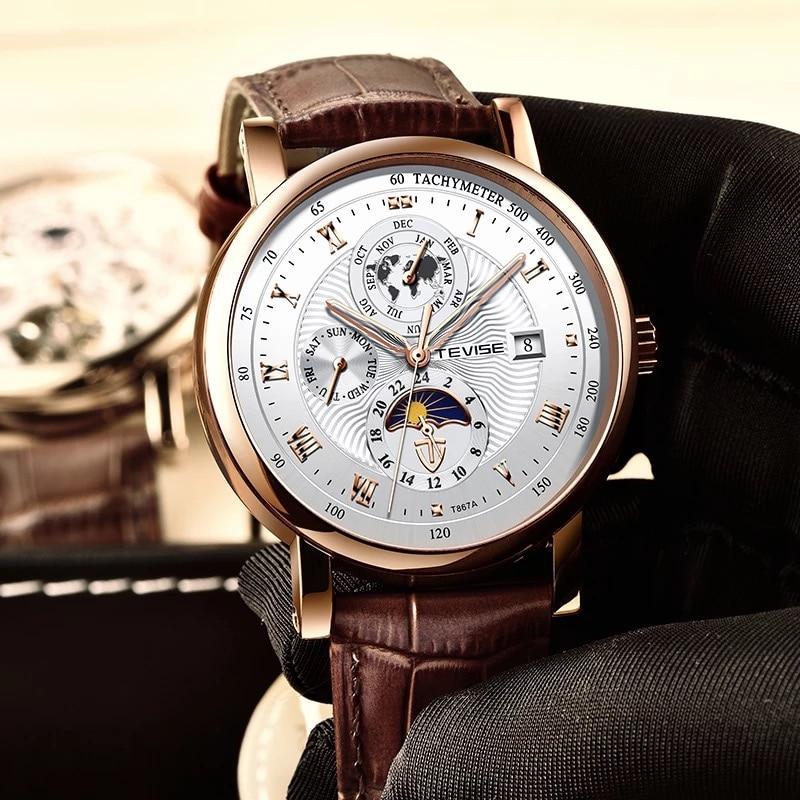 TEVISE ساعة اليد رجال الأعمال التلقائي الميكانيكية ساعة الموضة الفاخرة توربيون الرياضة الرجال الساعات Relogio Masculino 2021 جديد
