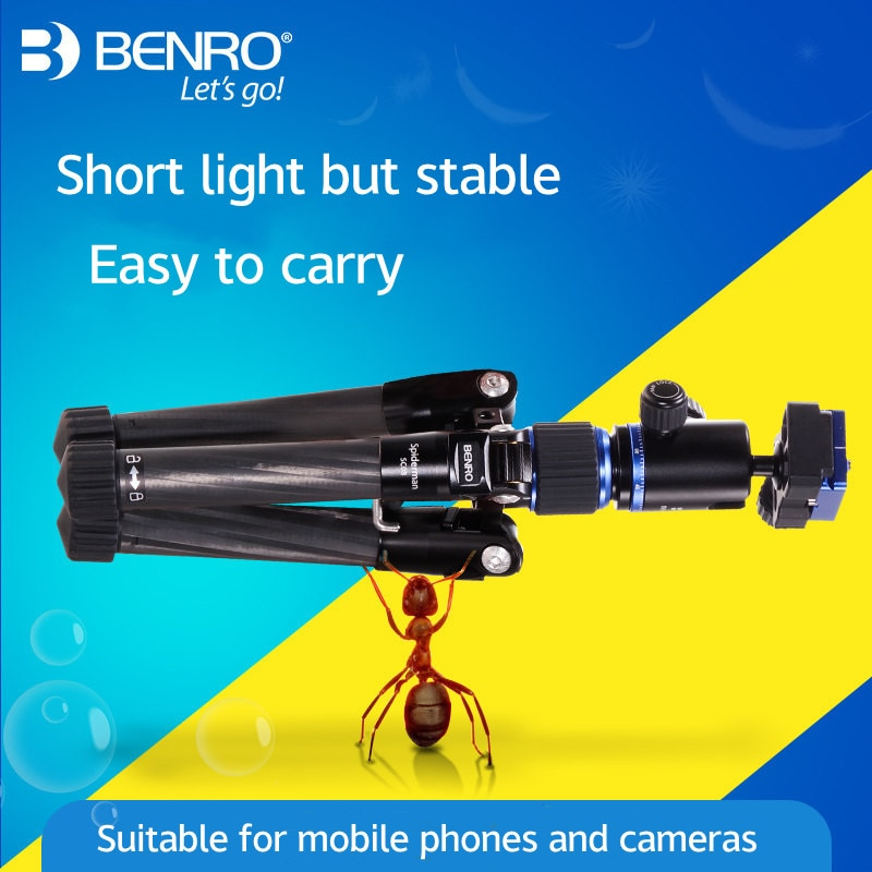 Benro SC08 ألياف الكربون ترايبود مع الكرة رئيس بلوتوث عن بعد ل Gopro الهواتف الذكية ترايبود للهاتف 360 حامل كاميرا