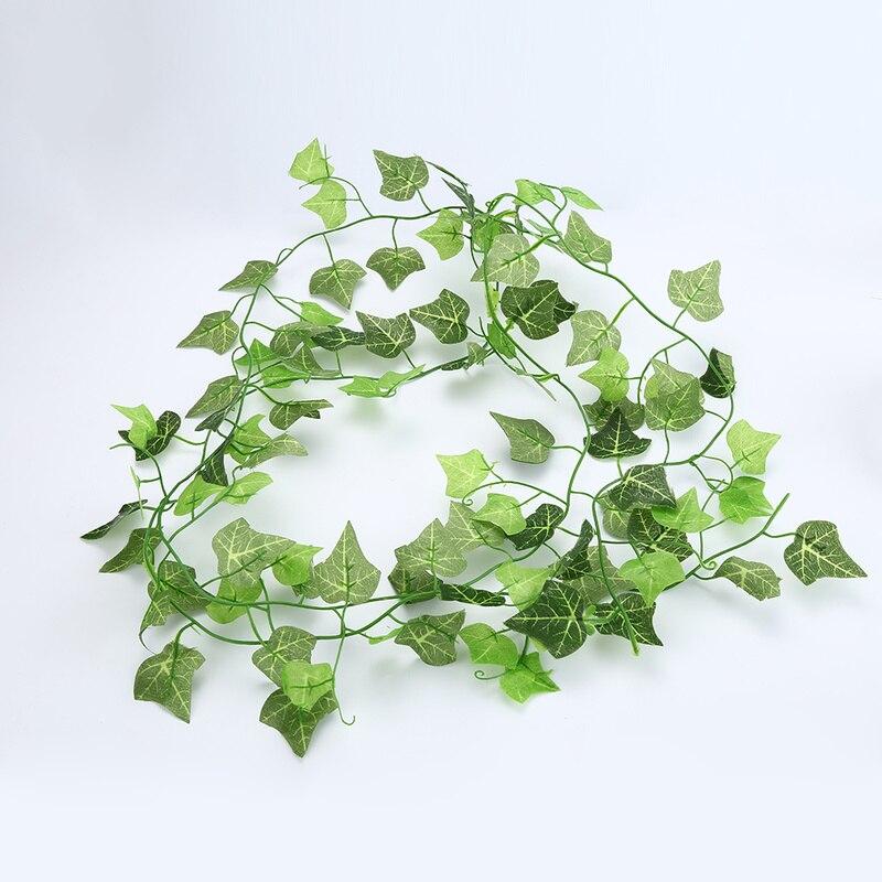 Casa decoração artificial folha de hera guirlanda plantas videira falso folhagem flores trepadeira verde grinalda de hera