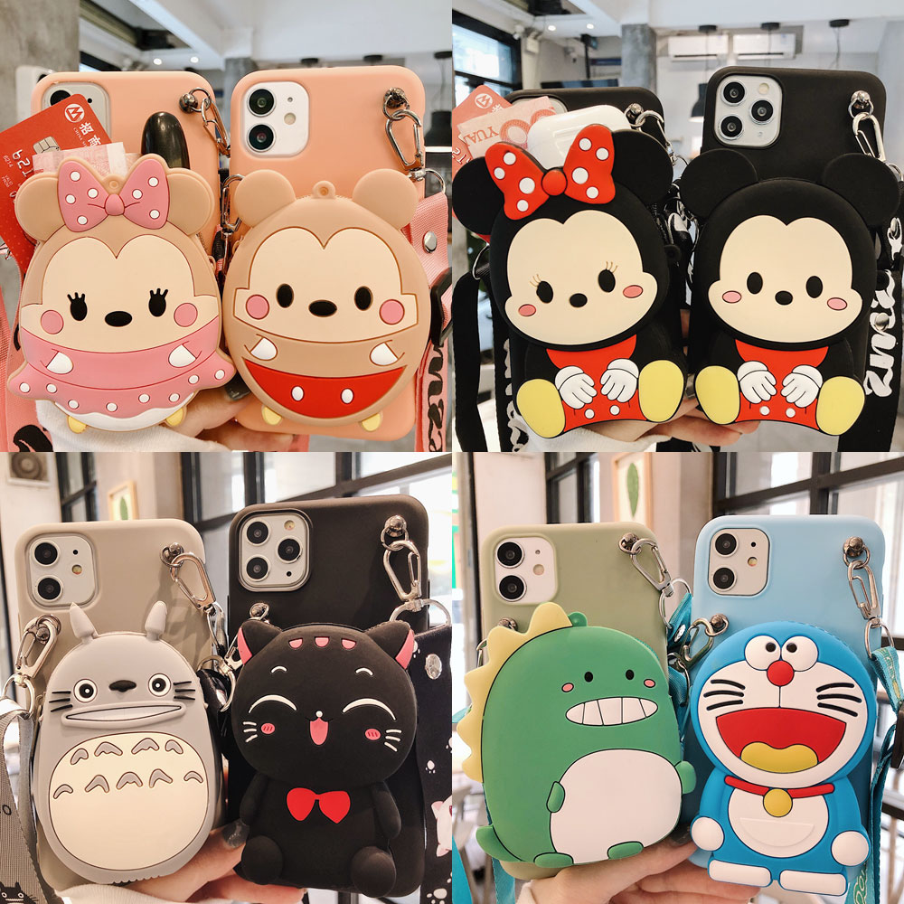 Para Huawei Honor 8X 8A 8S 8X 8C 9A 9X Pro 8 9 10 Lite 9i 10i 20 Pro Cat Minnie Totoro, funda billetera de goma para teléfono móvil