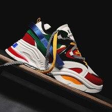 2020 nouveaux hommes grosses baskets à lacets chaussures décontractées plates avec plate-forme élégant mixte couleur respirant adulte mâle Tenis chaussures