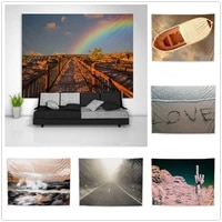 natural scenery beach rainbow tapestry art wall hanging sofa table bed cover home decor dorm gift