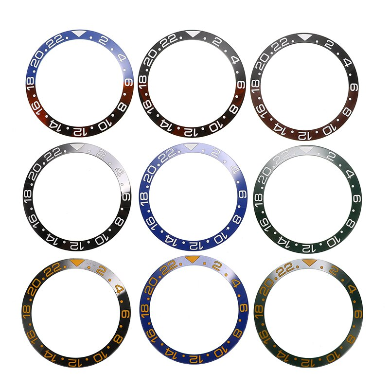 38mm Ceramic Bezel Watch Face Bezel Insert Fit 40mm Automatic Movement Watch Replacement Accessories