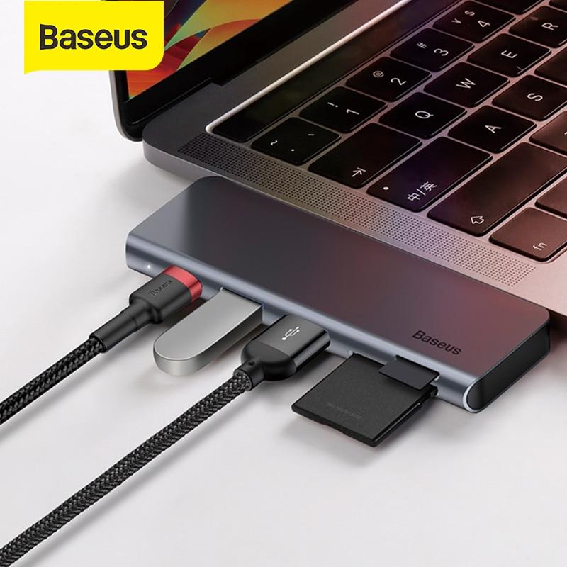 باسيوس USB C HUB to متعدد USB 3.0 USB HUB for MacBook Air 2016 TF قارئ بطاقة SD PD 60 واط سريع الشحن Type-C USB HUB محول