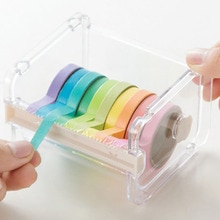 Creative Tape Cutter Tape Storage Oganizer Transparent Tape Holder Tape Dispenser School Supplies Office Stationery