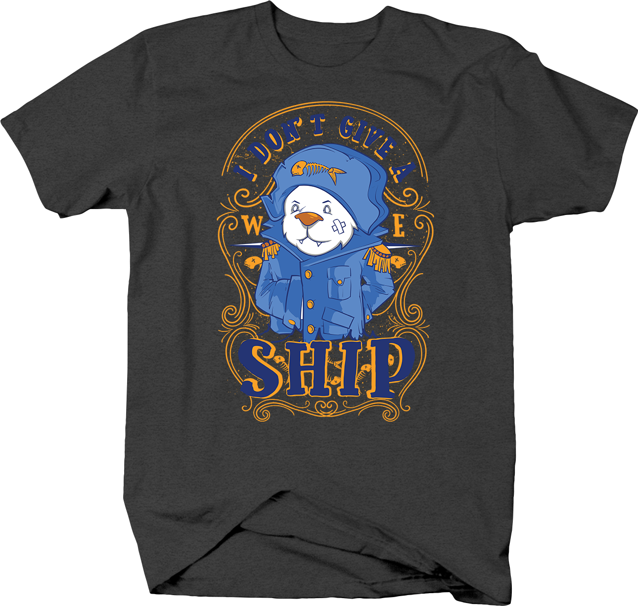 I Don't Give a Ship Polar Bear Sailor in Captain Uniform Tshirt