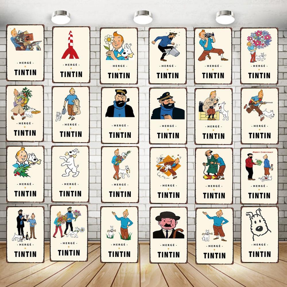Tintin Cartoon Sign Vintage estaño Sign regalo de Navidad placas de Metal para el arte de la pared Retro hogar niños habitación decoración cartel 30X20CM DU-3895A