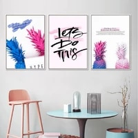 creative colored pineapple wall art canvas paintings lets do this wall art prints and posters living room home decoration