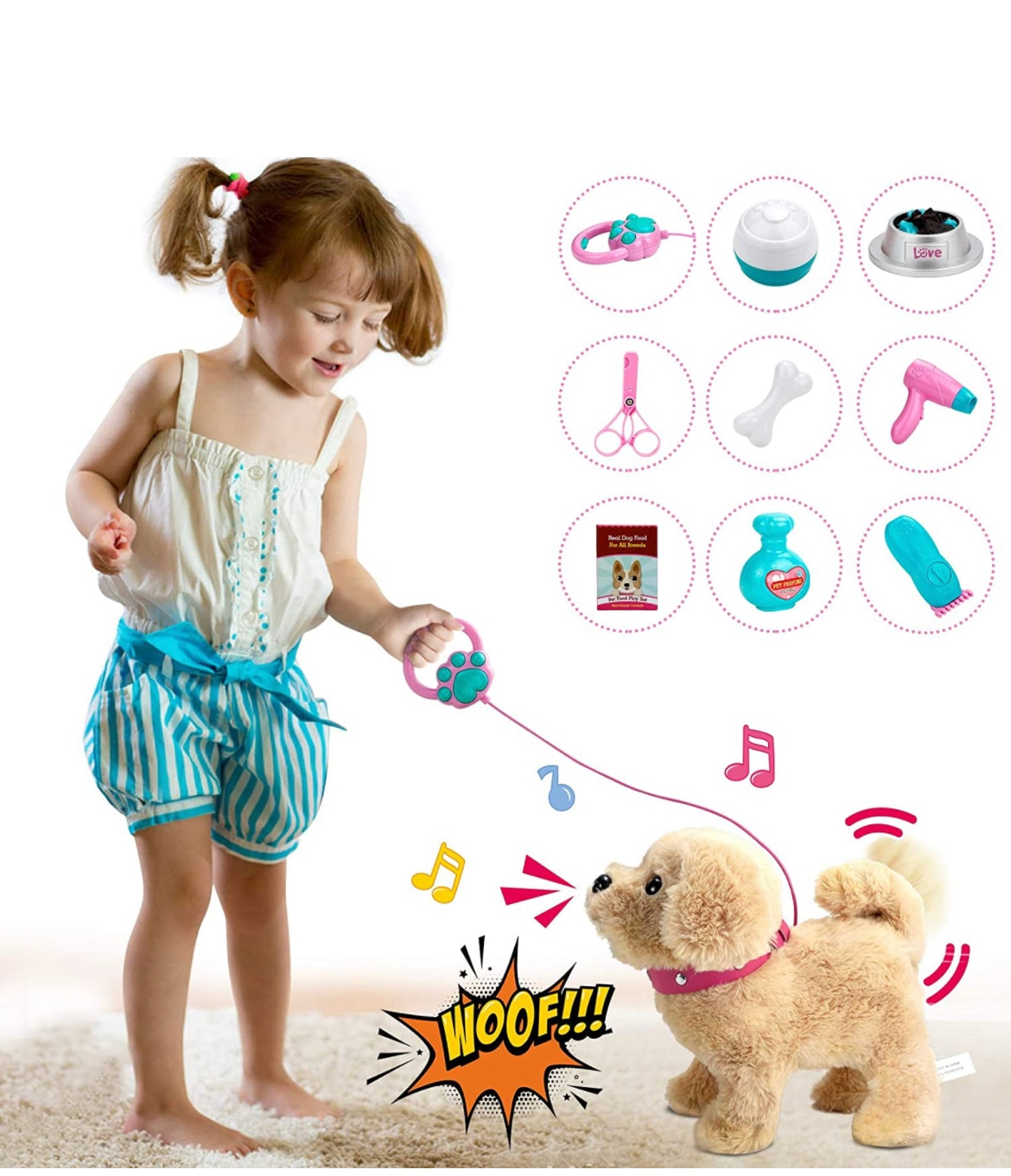 Electric stuffed toy cute little dog robot pet toys with traction rope for children singing walking animal plush toys
