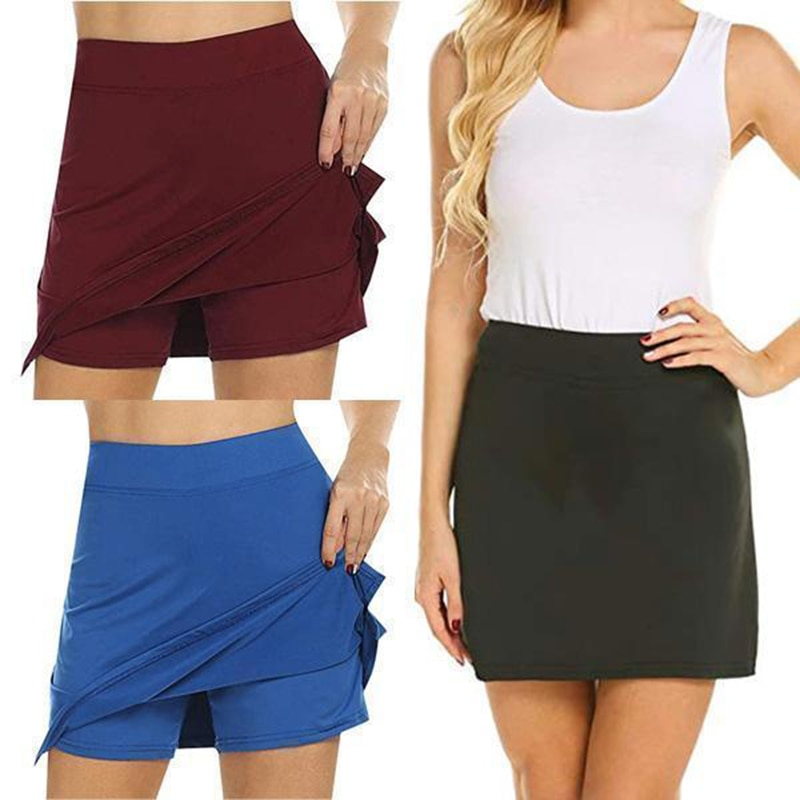 Anti-Chafing Active Skorts Super Soft Comfortable Women's Athletic Lightweight Skirts With Shorts Pockets Running Tennis H9