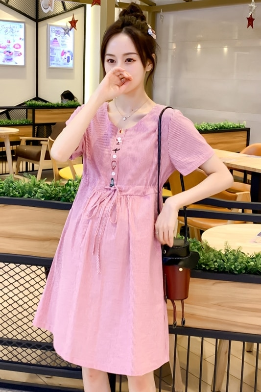 6003 2021 Summer Korean Casual Maternity Dress Drawstring Slim High Waist Embroidery Cotton Clothes for Pregnant Women Pregnancy enlarge