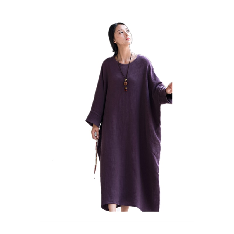 2021 summer cotton and linen women's clothes, new Chinese style loose zen double zou women dress