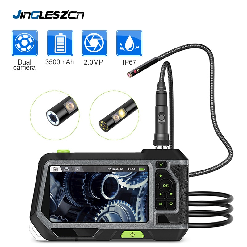Get NTS500 5.5mm Dual Lens Industrial Endoscope 2.0MP Inspection Camera 5 Inch 1280P HD LCD Screen Waterproof Borescope with 6 LED