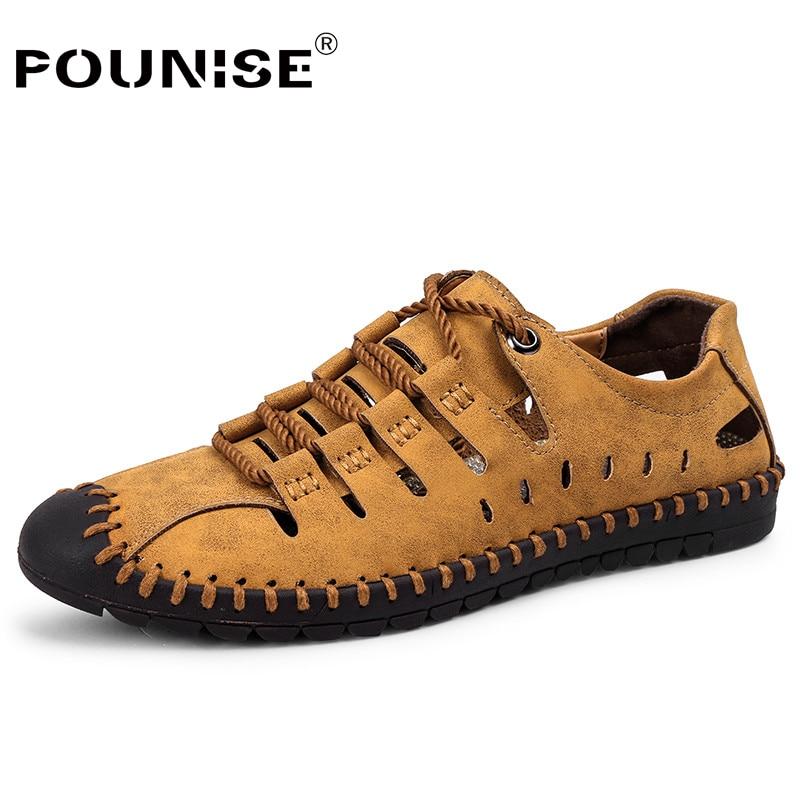 Genuine Leather Men's Shoes 2019 Autumn Winter Rome Casual Shoes man Lace-up flats men Oxfords chaussure homme plus size 38-48