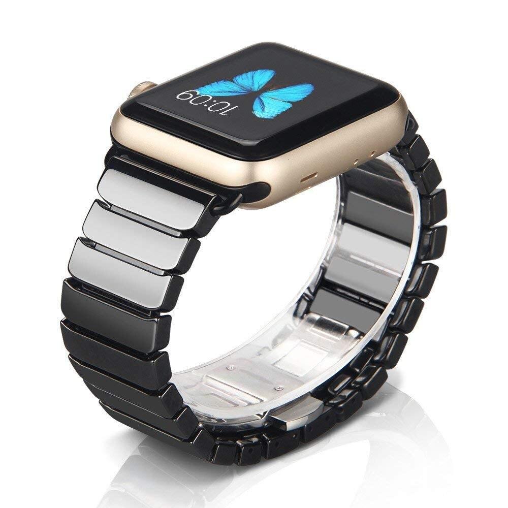Correa de cerámica para Apple Watch banda 44mm 42mm Smart Watch Link Correa pulsera cerámica reloj serie iWatch 5 4 3 40mm 38mm