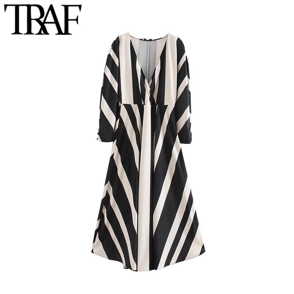 TRAF Women Chic Fashion Striped Midi Dress Vintage V Neck Long Sleeve Side Zipper Female Dresses Casual Vestidos Mujer