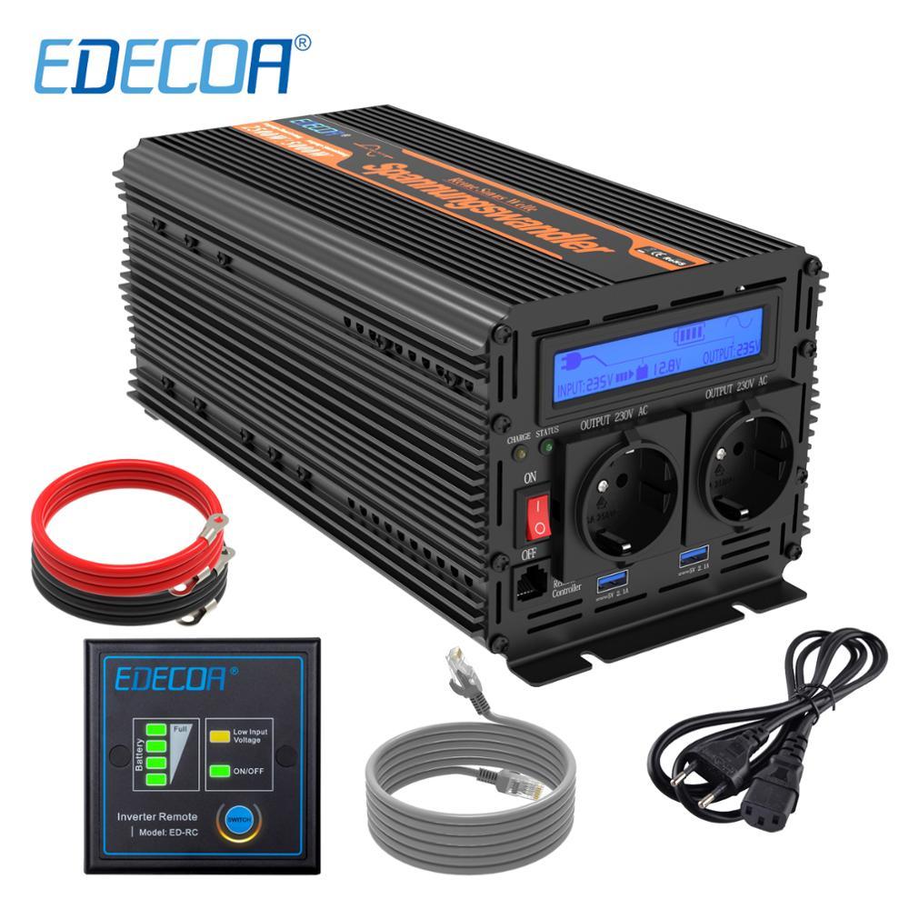 2500W EDECOA UPS Charger Converter 5000W DC 12V AC 220V 230V 240V Pure Sine Wave USB LCD Display Power Inverter