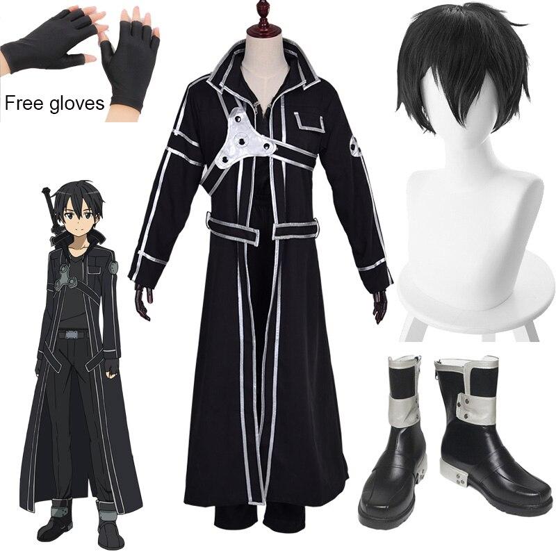 Anime Kirigaya Kazuto Cosplay Costumes Sword Art Online Kirito Shoes Alicization Wigs Boots Uniform