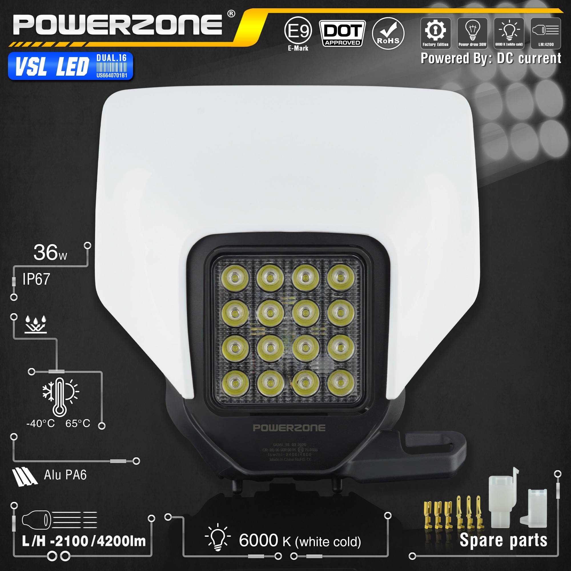 PowerZone Motorcycle LED Headlight Headlamp  Light Supermoto Fairing For Husqvarna FC TC FE TE MX Dirt Bike Enduro LED Headlight