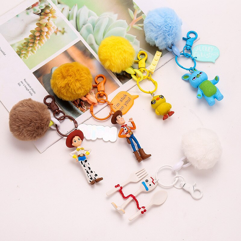 1pc brinquedo história 4 figura chaveiro anime brinquedos fofo pompom chaveiro titular buzz lightyear amadeirado forky jessie chaveiro