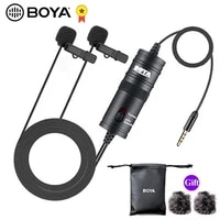 boya by m1dm mic phone lavalier camera double head microphone lapel condensor mic for xiaomi collar iphone xs x canon dslr