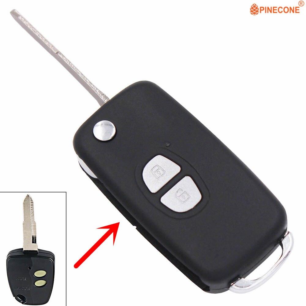 Pinecone para mitsubishi soueast delica 2 botão chave modificado flip dobrável carro chave fob caso do escudo com lâmina sem corte
