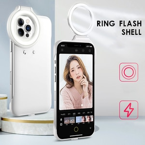 Led Ring Light Phone Case For Iphone 11Pro Max Small Round Selfie Beauty Ring Flash For Iphone 12 Pro Max