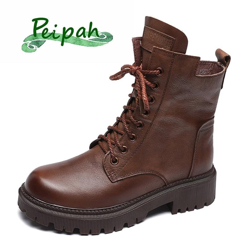 PEIPAH جلد طبيعي أحذية نصف رقبة من المطاط السيدات منصة أسافين أحذية للنساء الدانتيل يصل الصلبة الرجعية الإناث عالية الكعب بوتاس موهير 2021