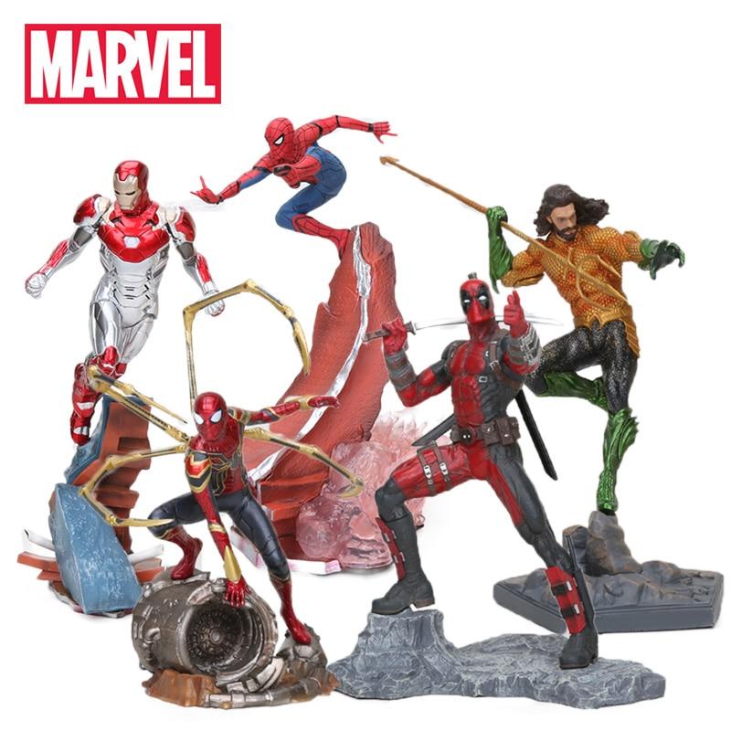 22-27 Centimetri Giocattoli Marvel Avengers Action Figure Spiderman Ironman Thanos Mark MK47 Deadpool Danvers Statua Ko di Ferro studio Figure